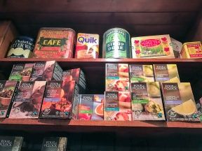 Remaining true to its history, the upper shelves display vintage packages of each category.