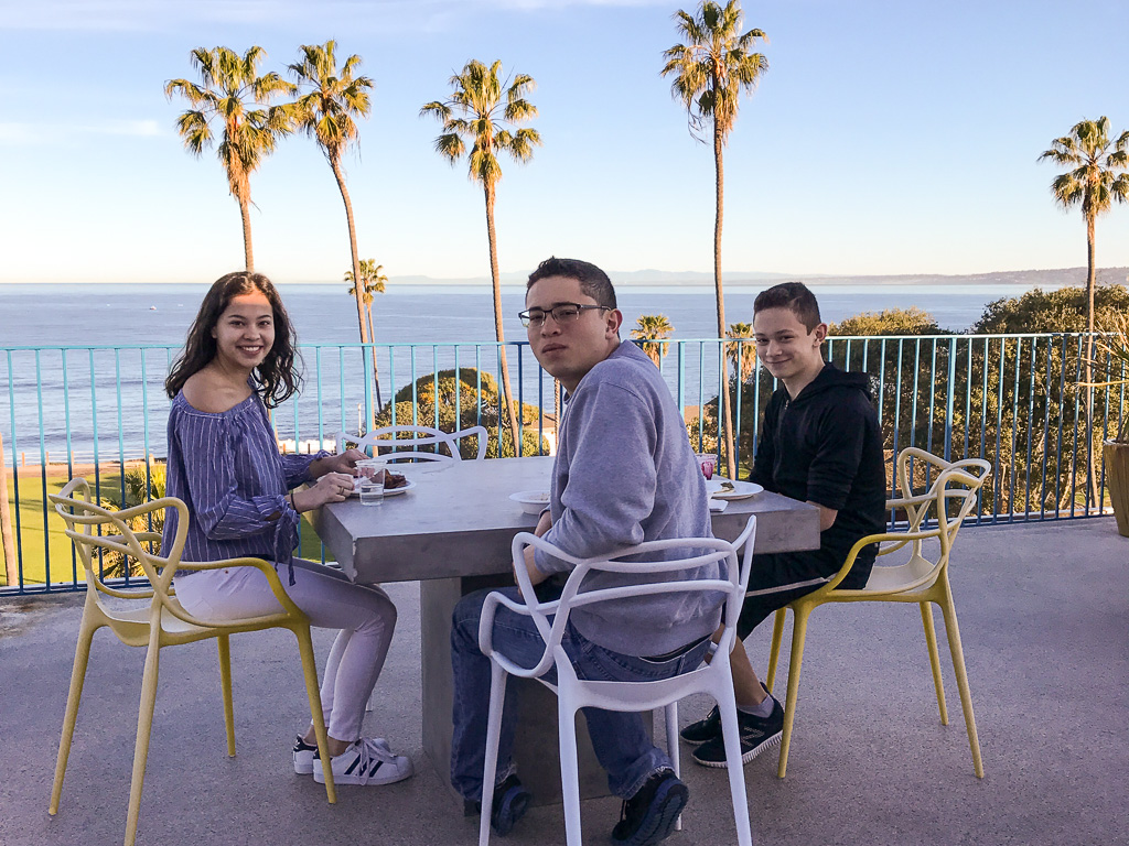 Breakfast on the roof at La Jolla Cove Suites
