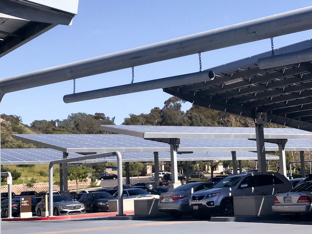 Solar panels in the parking lot