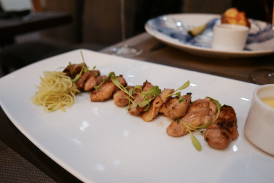 Jidori Chicken Yakitori, Cilantro Lime Dressing, Green Papaya Salad ($14)