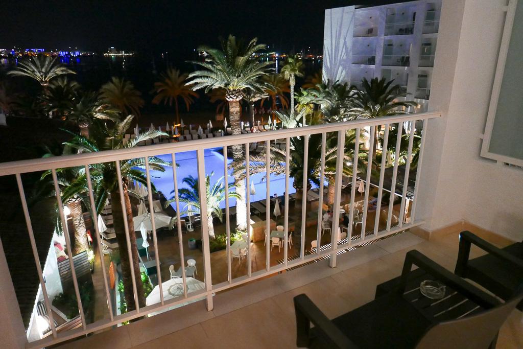 Balcony facing pool