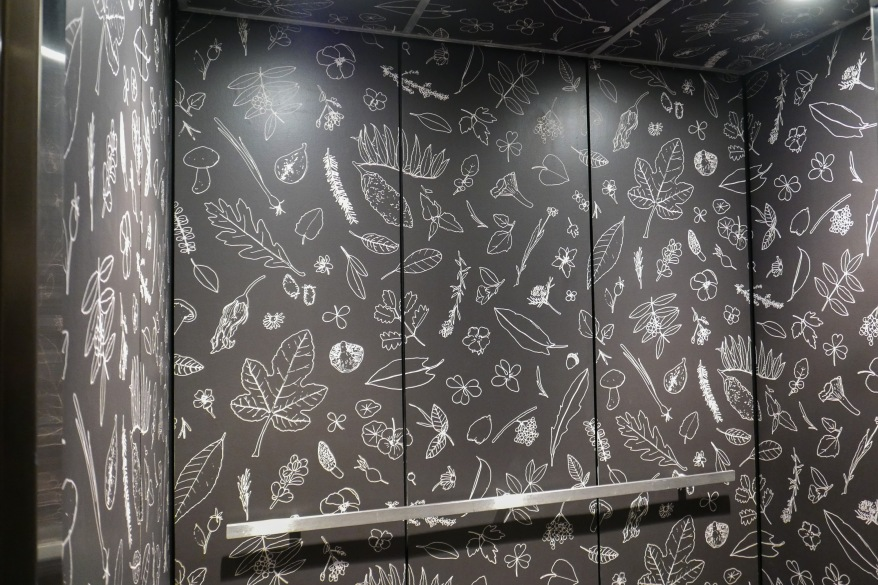 Wallpaper in elevator by Anna Posey of Elske
