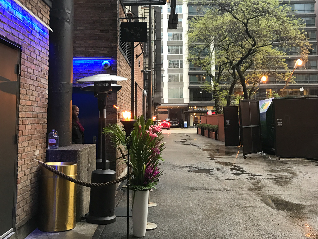 This River North alley entrance for Three Dots and a Dash.