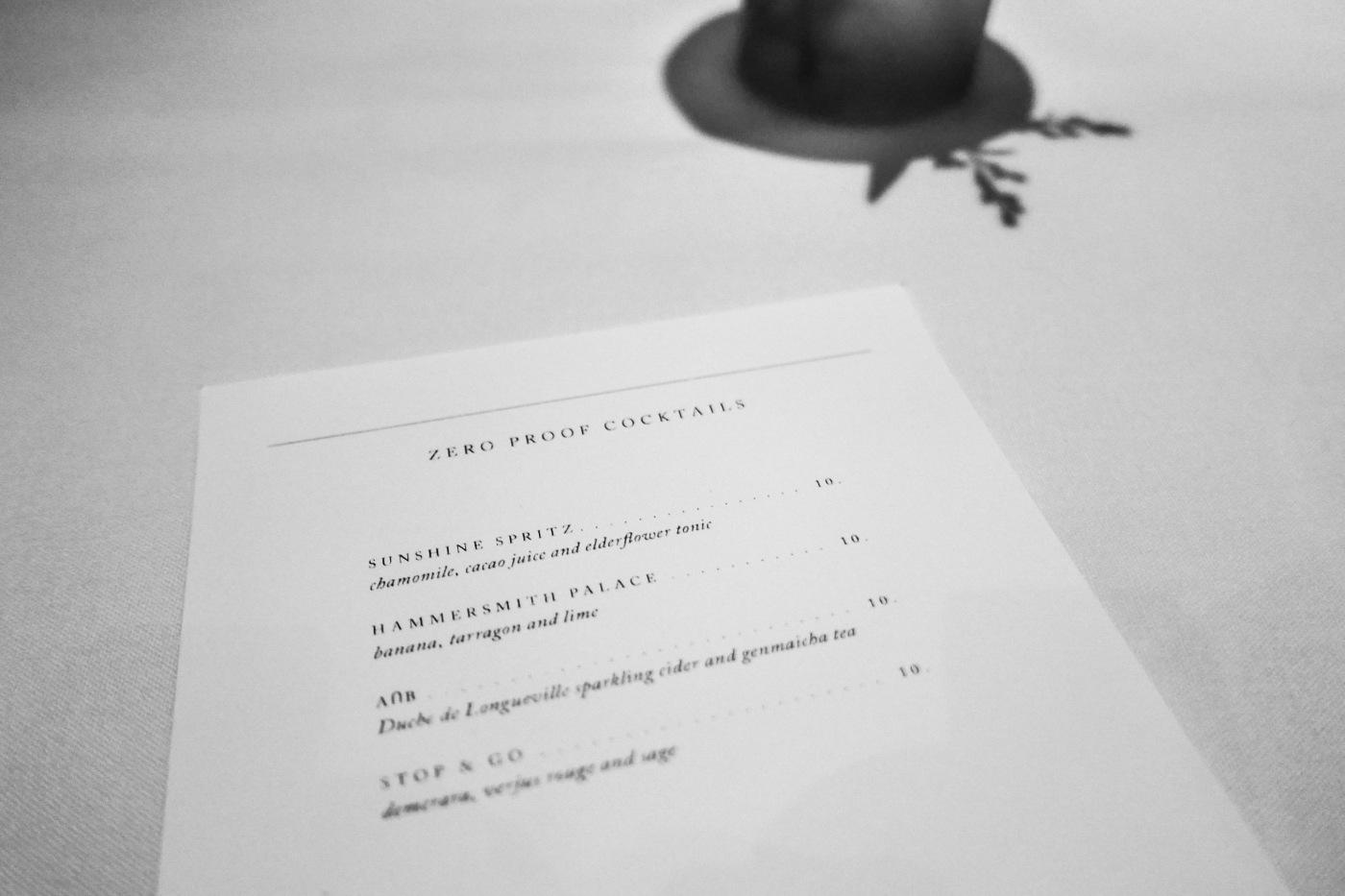 Non-alcoholic beverage menu at Oriole