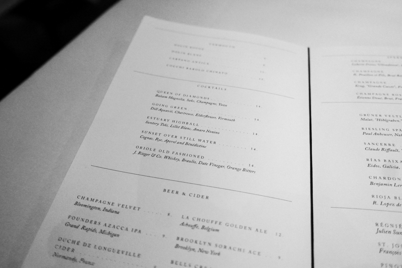 Beverage menu at Oriole