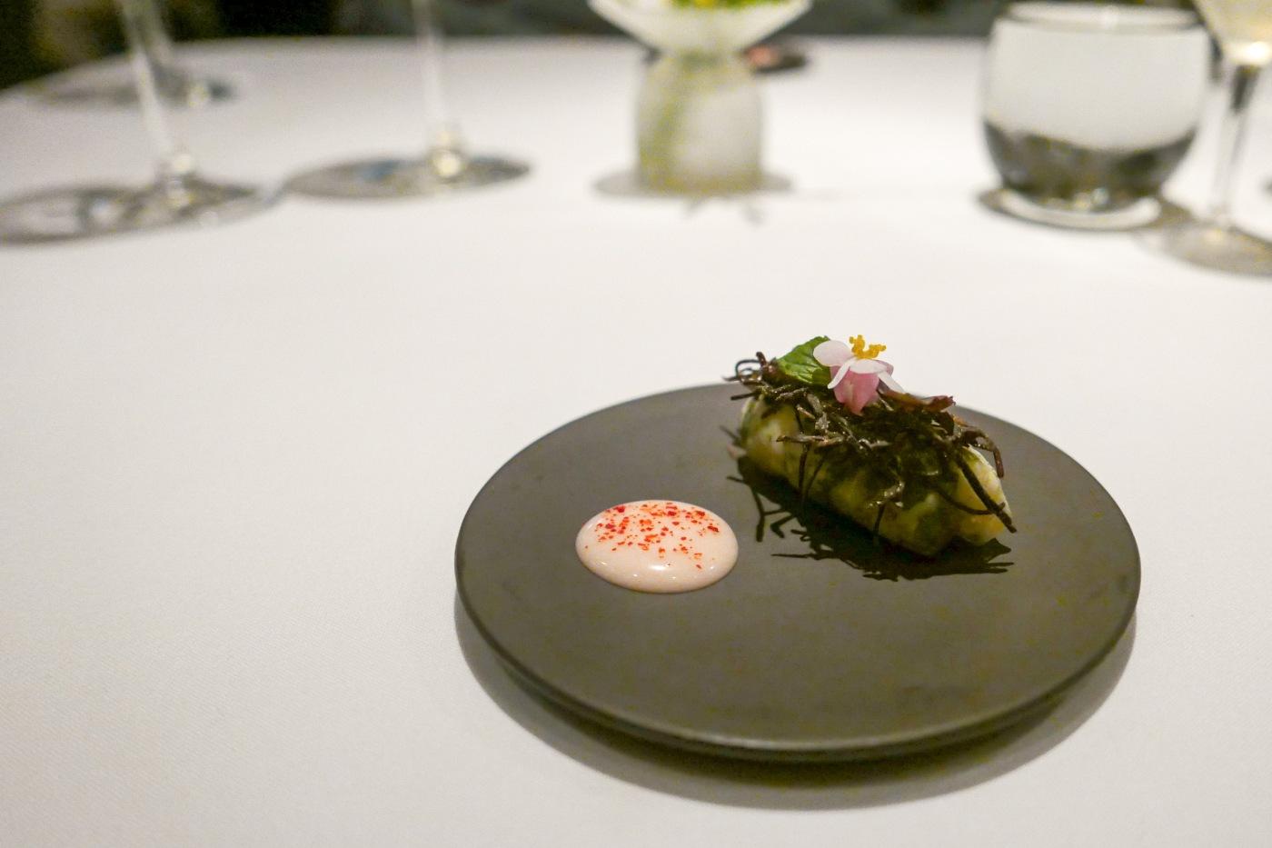 SCOTTISH LANGOUSTINE spring roll with shio kombu, rhubarb and mint