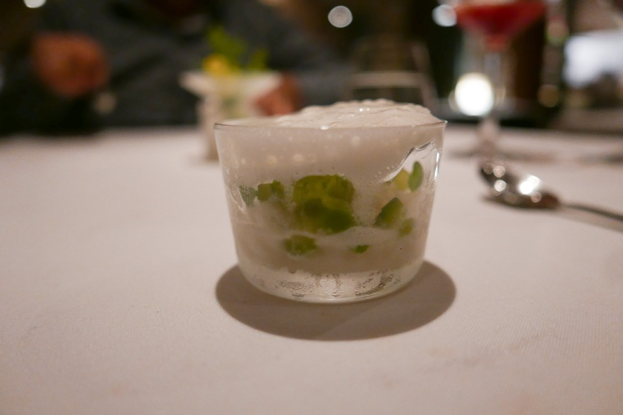 CUCUMBER sorbet with basil, champagne and tonka bean