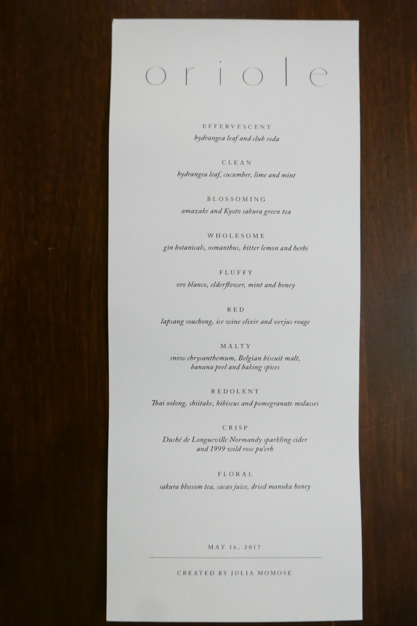 Non-alcoholic pairings at Oriole ($75)
