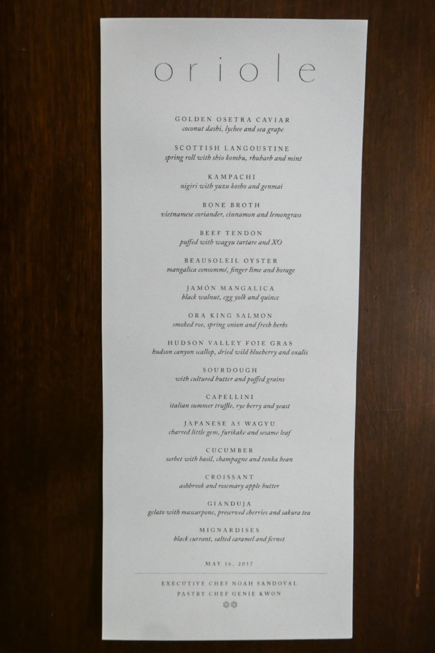 Menu at Oriole ($190)