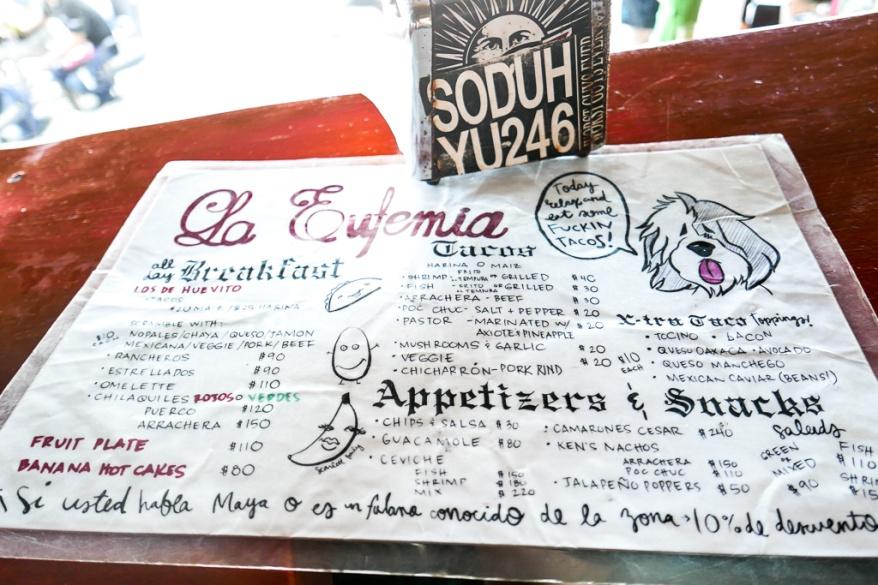 Menu at Taqueria La Eufemia