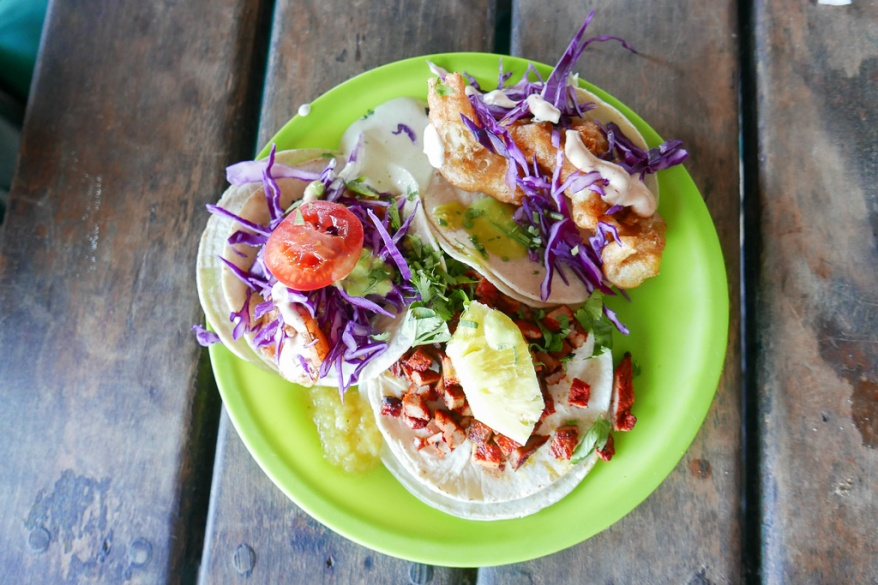 TACOS Grilled Shrimp, Fried Fish, Pastor marinated with Axiote and Pineapple (90 pesos = $4.82USD)