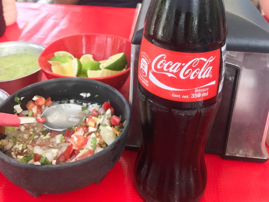 Pico de gallo and Coca-Cola