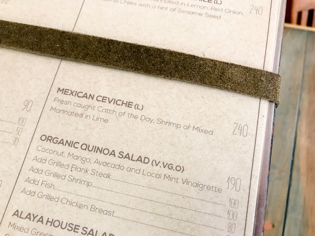 Lunch menu.