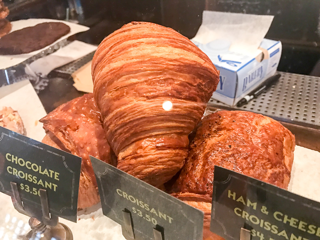 Bakery items at the separate coffee/bakery counter