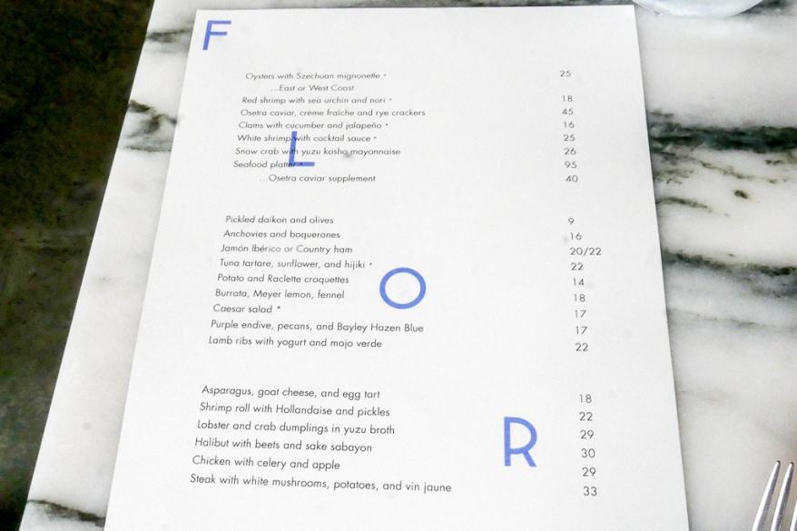Lunch menu at Flora Bar